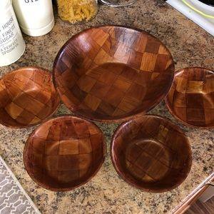 1970 wooden parquet bowl set *sale**